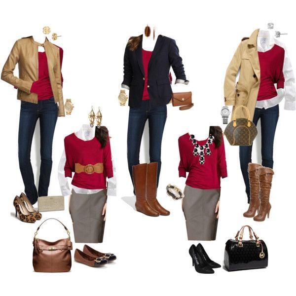"""10 Piece Fall Wardrobe: Red Sweater 5 Ways"" by crystaljoyce on Polyvore"