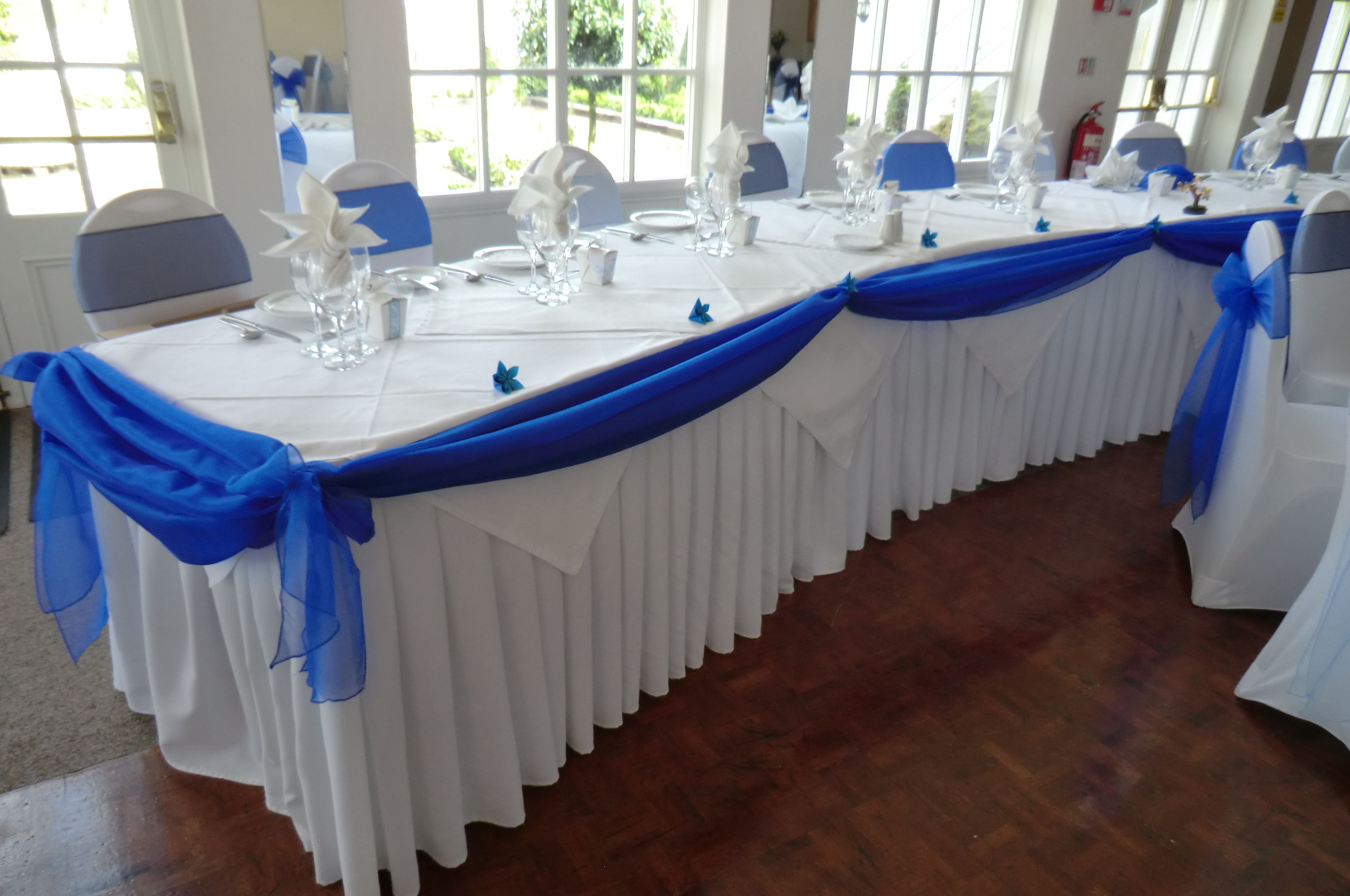 Royal Blue Organza Top Table Swag In Japanese Themed