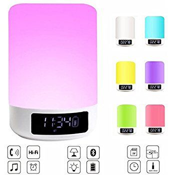 Led Touch Bedside Lamp Elecstars Bluetooth Speaker Dimmable Colour Night Light Outdoor Table Lamp With Cool Gifts For Women Kids Sleep Outdoor Table Lamps