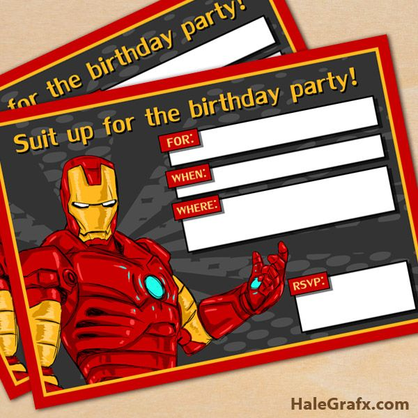 FREE Printable Avengers Iron Man Birthday Invitation Free