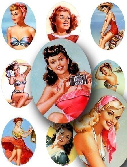 Pin Ups! I especially love these because they're illustrated by one of the few female pin-up artists from the 1940s-1950s.