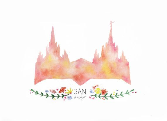 Lds San Diego Temple Painting Print San Diego Temple Lds Crafts