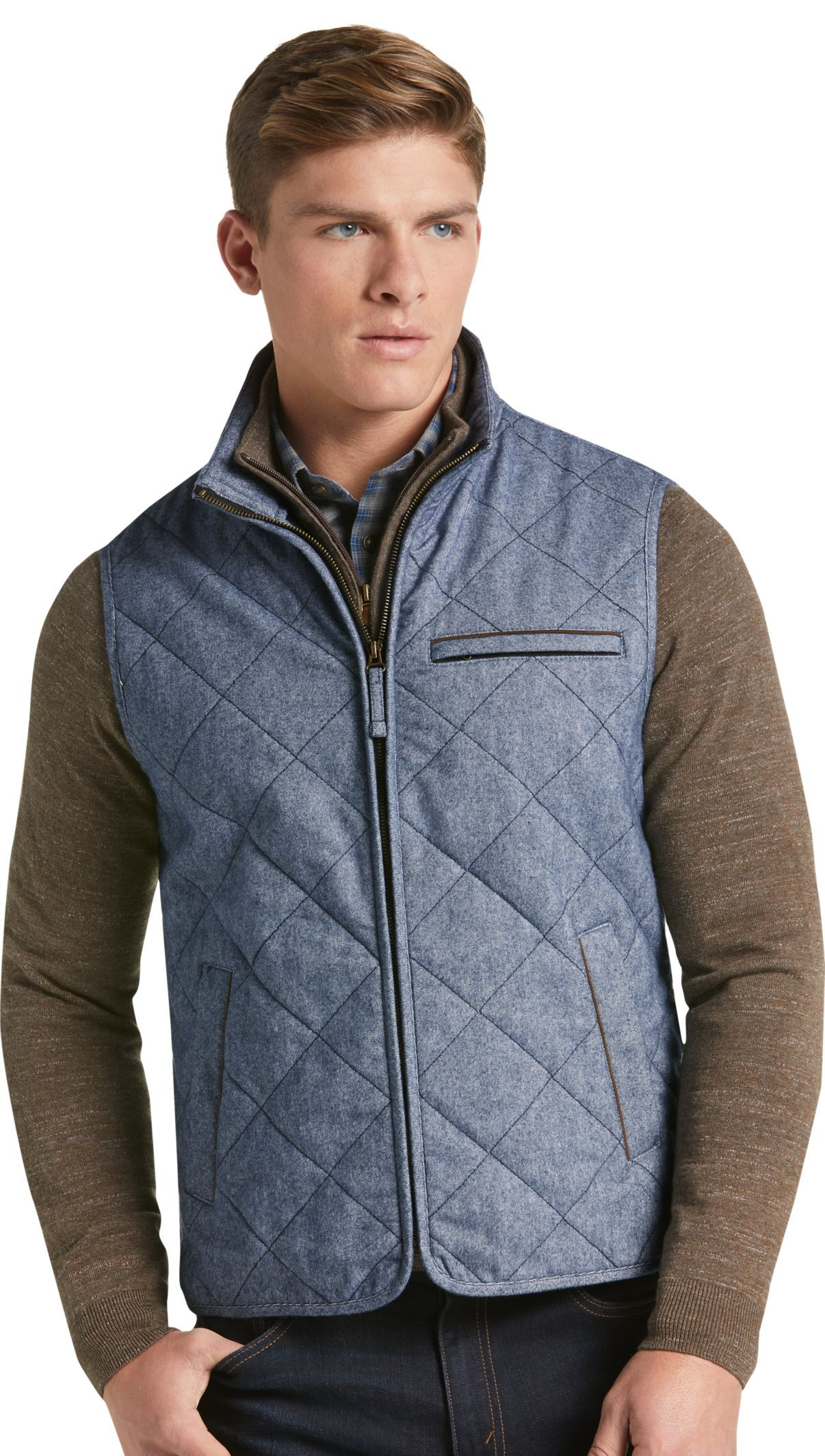 1905 Collection Tailored Fit Donegal Diamond Quilted Vest