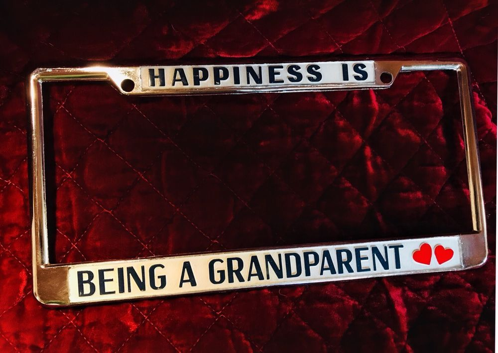Metal License Plate Frame u201cHappiness Is Being A Grandparentu201d Rare Double Hearts & Metal License Plate Frame u201cHappiness Is Being A Grandparentu201d Rare ...