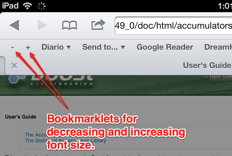 bookmarklets for increasing/decreasing font size on iPad