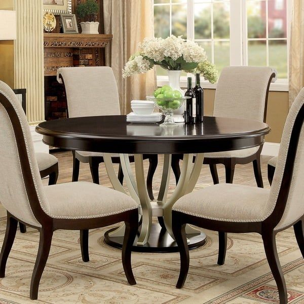 Contemporary Round Dining Room Tables Furniture Of America Daphne Round Pedestal Espressochampagne