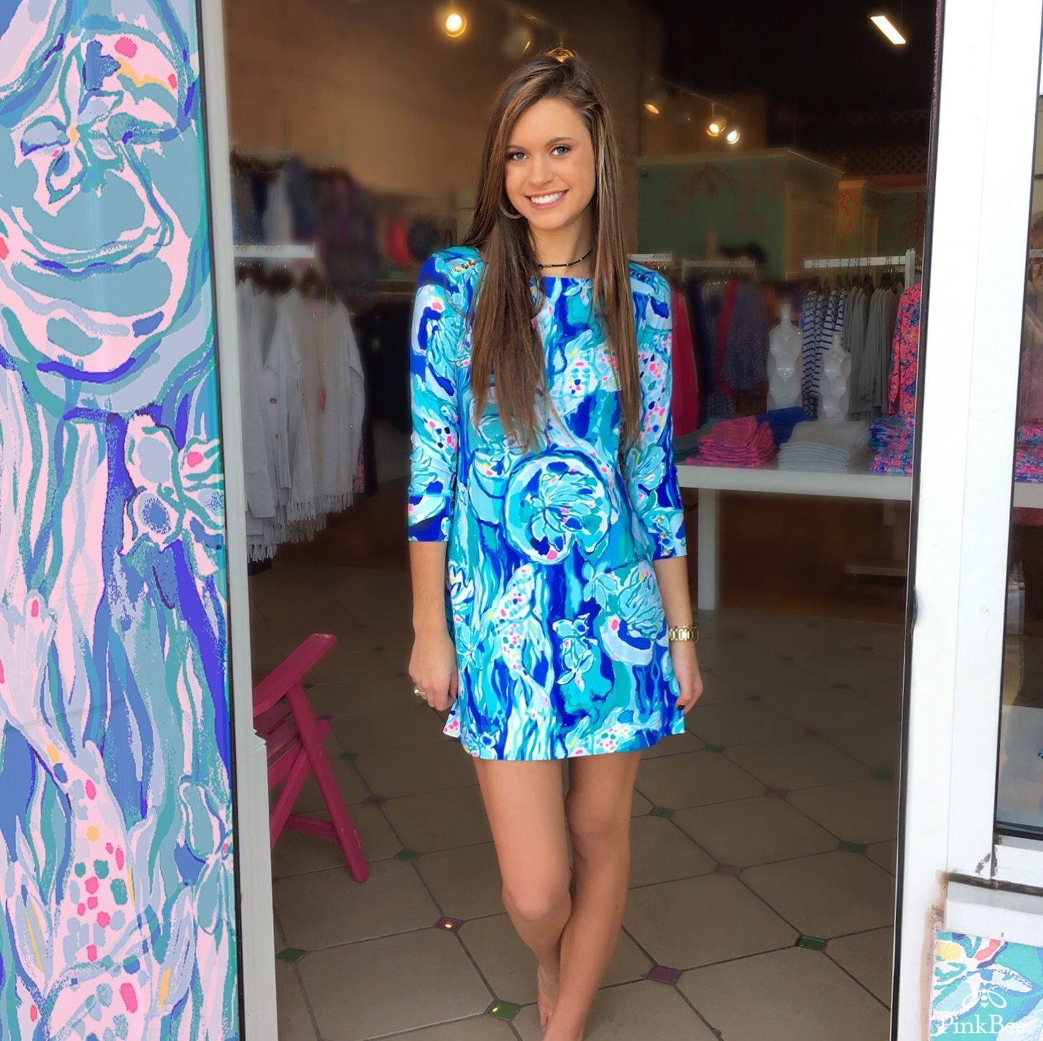c4e70af4f3b4b7 Lilly Pulitzer SOPHIE DRESS Aquatic Garden $138 #yeahthatgreenville  @annacourtland @pinkbee