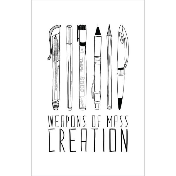 On 20 Off Inspirational Wall Sticker for Artists Weapons of Mass... (17 CAD) ❤ liked on Polyvore featuring home, home decor, wall art, home & living, home décor, silver, wall decals & murals, wall décor, door plates and hand drawing