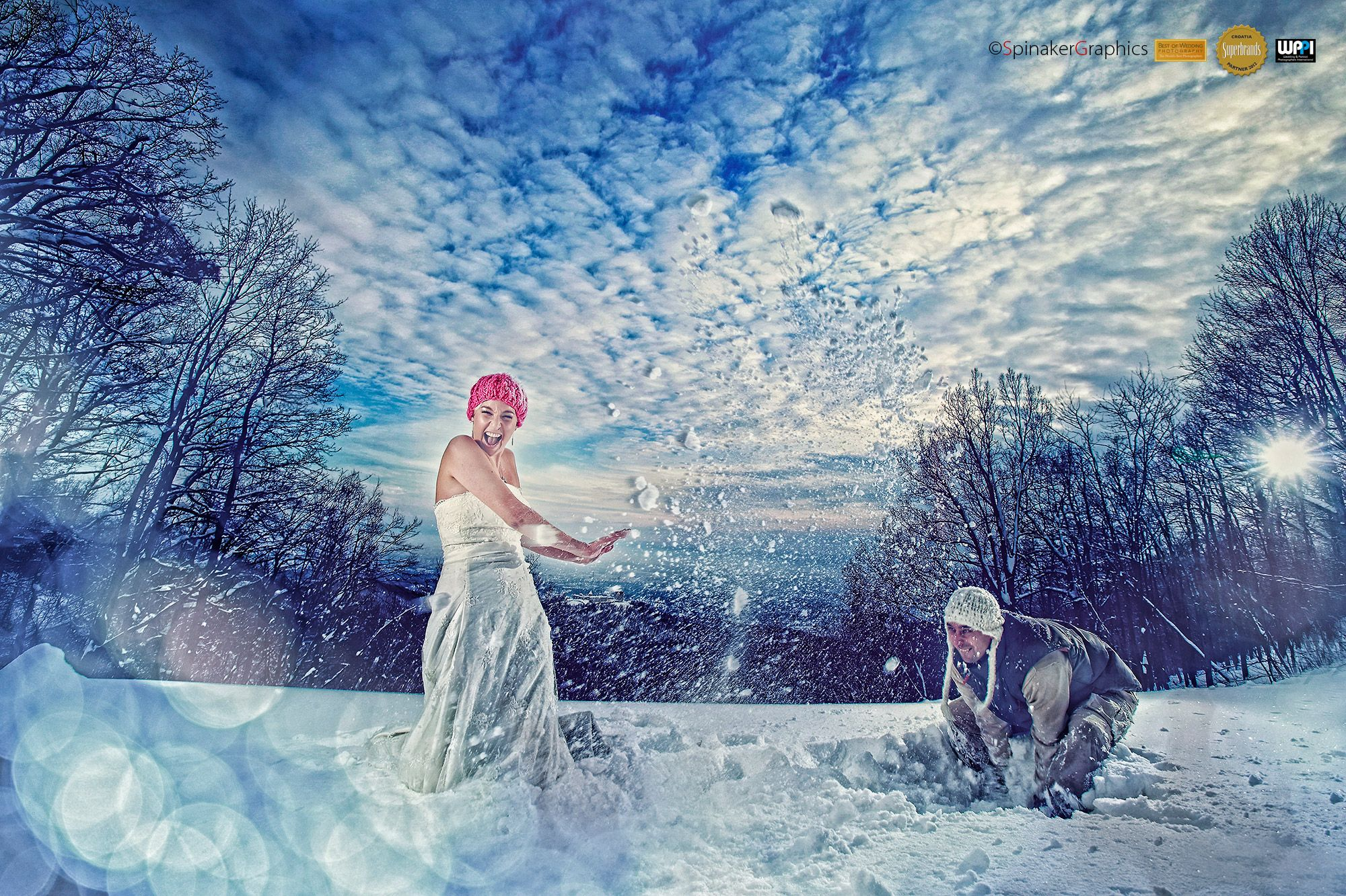Snow Bride & Groom playing around