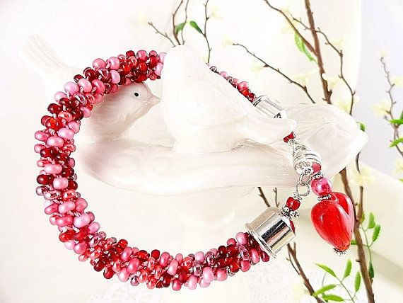 Kumihimo Braided Bracelet Red Heart Lampwork Charm by JewelrybyPJ