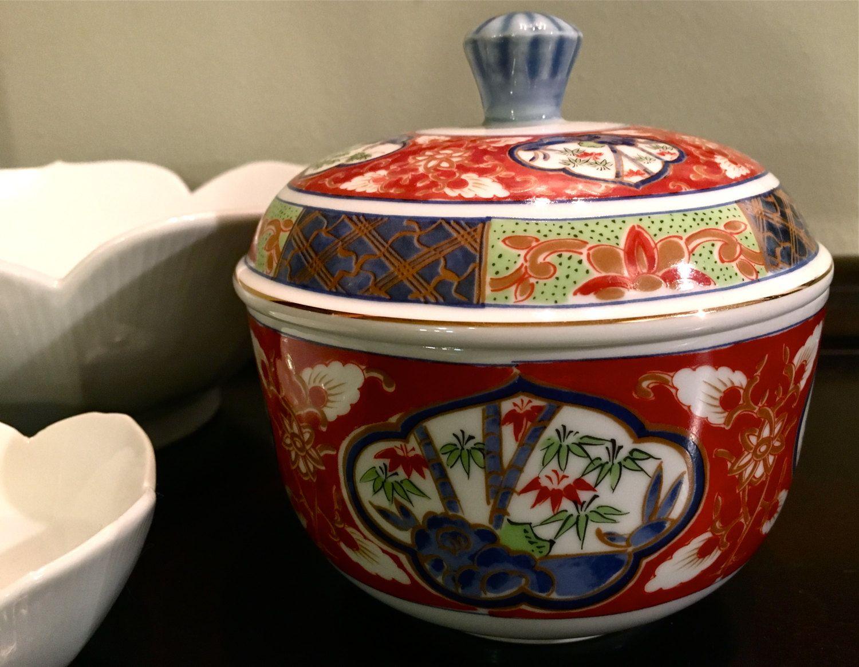 Vintage Ceramic Asian Japanese Bowl with Lid Home Decor Serving Bowl ...