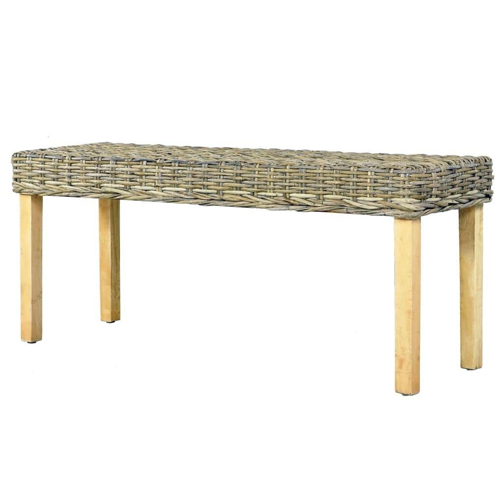 Bench 110 cm Natural Kubu Rattan and Solid Mango Wood
