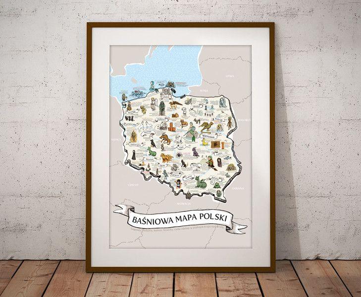 Basniowa Mapa Polski Mamarak Pl Ozdoby Na Sciane Decor Home Decor Frame