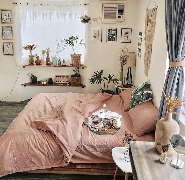 bedroom | home decor | house decoration | bohemian | wall shelves under window | millennial pink bedding #bedroomgoals