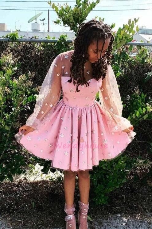 Romantic A-line Short Pink Party Dress with Stars