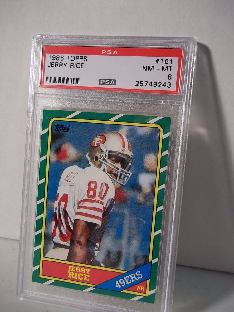 1986 topps jerry rice rookie psa nmmt 8 football card