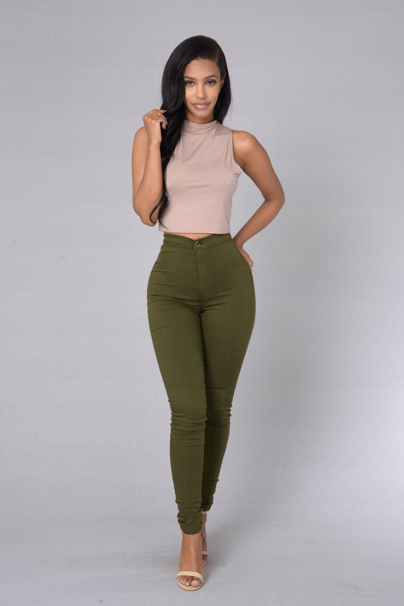 b3608ba5eaeb Super High Waist Denim Skinnies - Olive   Outfits   High jeans, High ...