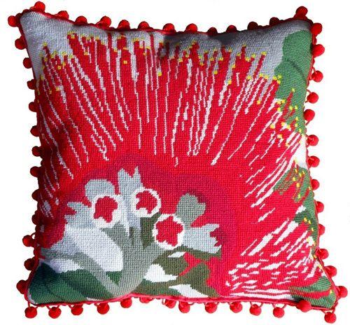 Pohutukawa Flower Needlepoint Cushion Kit - Product of New Zealand