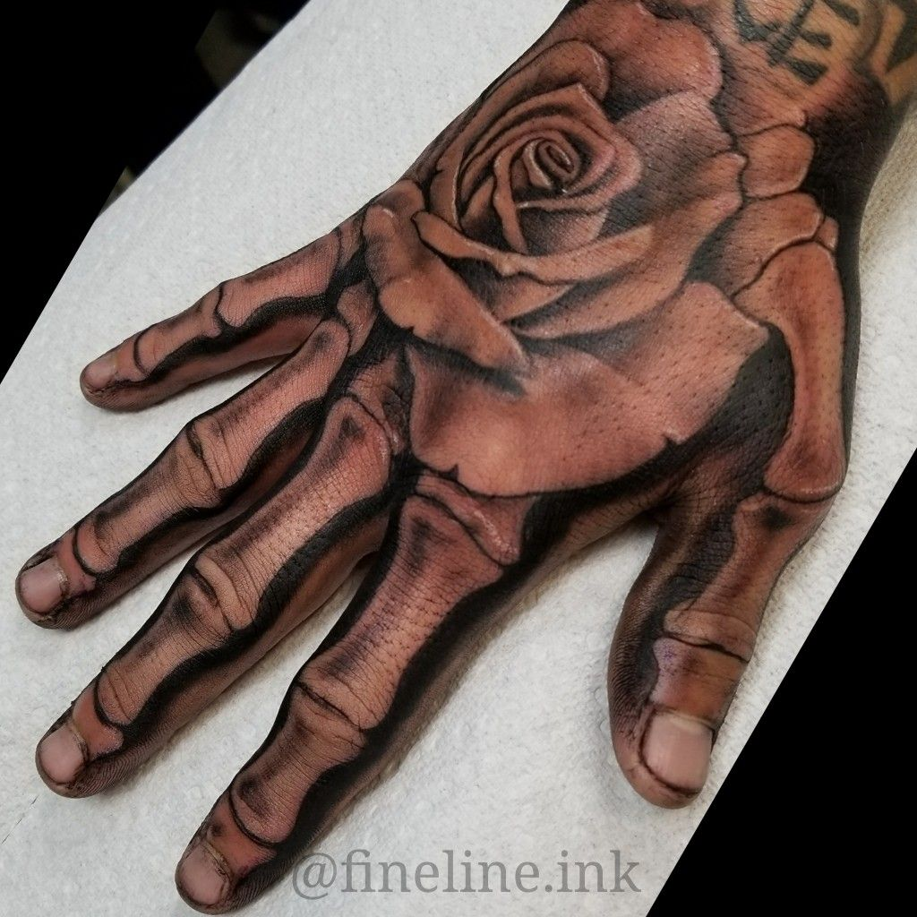 Skeleton Hand And Rose Tattoo By Rudy Fineline Ink Hand Tattoos For Guys Hand Tattoos Rose Hand Tattoo
