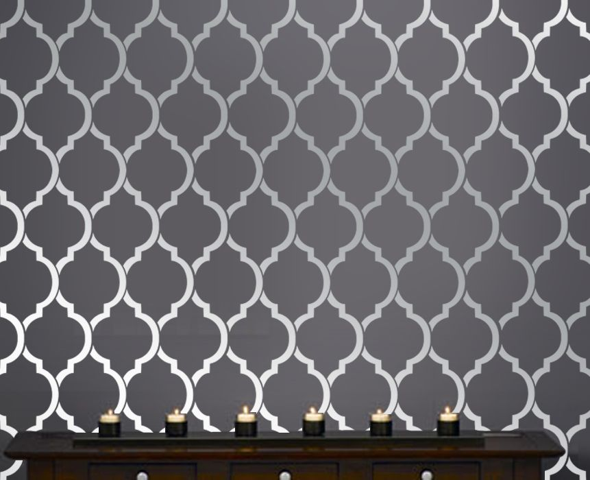 Stenciling Is An Excellent Way To Produce Beautiful Effects On Beautiful  Quatrefoil Moroccan Wall Inspired Modern