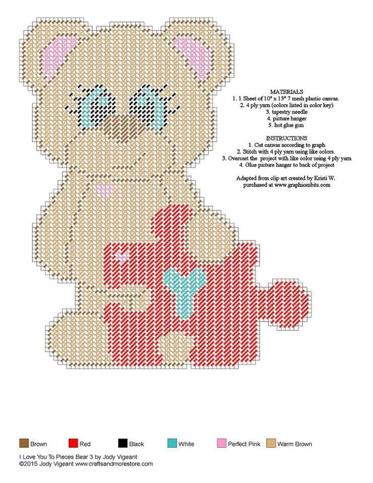 I Love You To Pieces Bear 3 | PC Cubos Kleenex | Pinterest