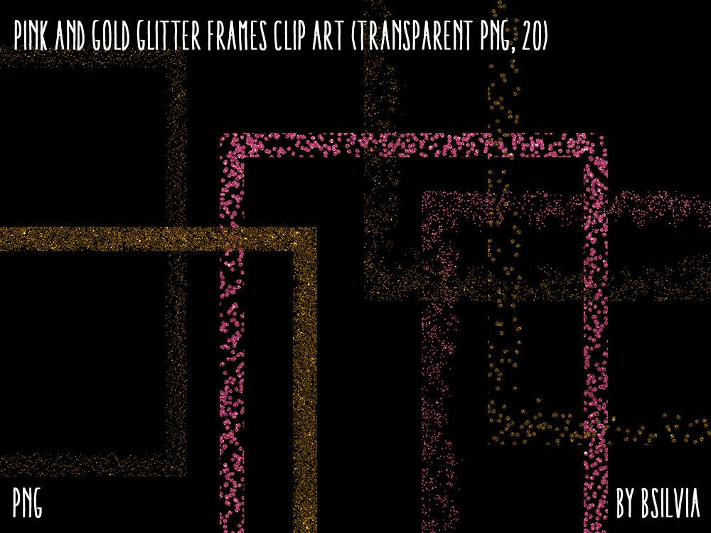 Pink and Gold Glitter Frames Clipart, Gold Glitter Design Elements ...