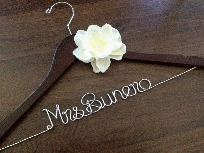 Wedding Dress Hanger, Bride Hanger, Bridal Hanger, Personalized Hanger, Bridesmaid Hangers, Bride Gift, Ivory Flower. $36.00, via Etsy.