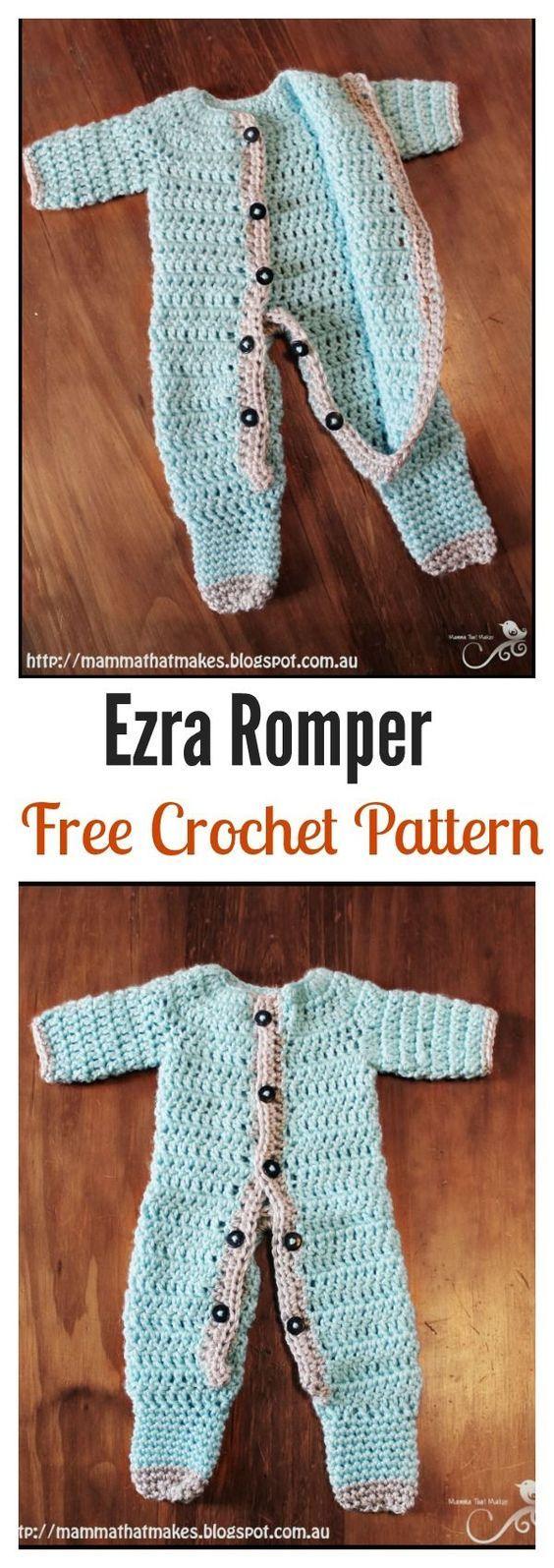Crochet Baby Romper Free Patterns | Kleidung häkeln, Babysachen und ...