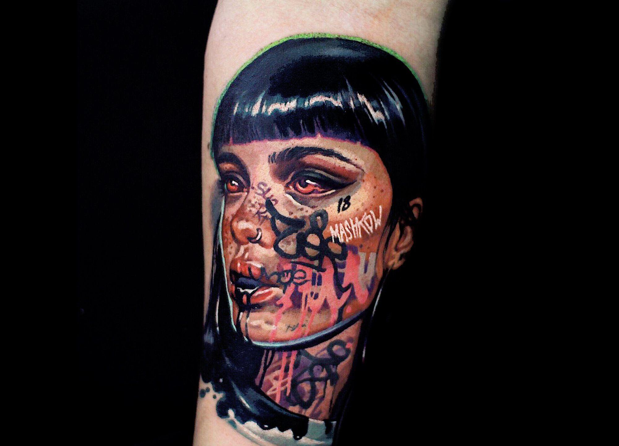 Graffiti bombed faces tattoos by mashkow graffiti face