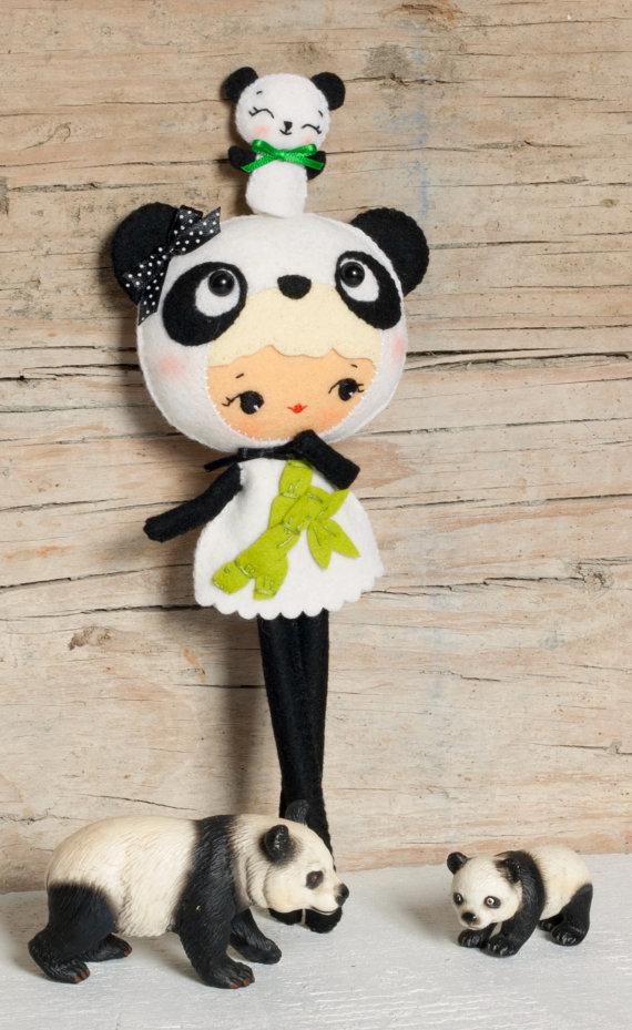 PDF. Panda bear girl with puppet. Plush Doll Pattern, Softie Pattern ...