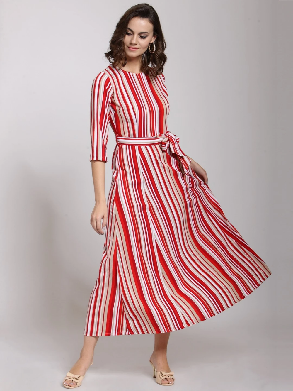 Red Striped Fit And Flare Dress Fit And Flare Dress Flare Dress Frock For Women [ 1333 x 1000 Pixel ]