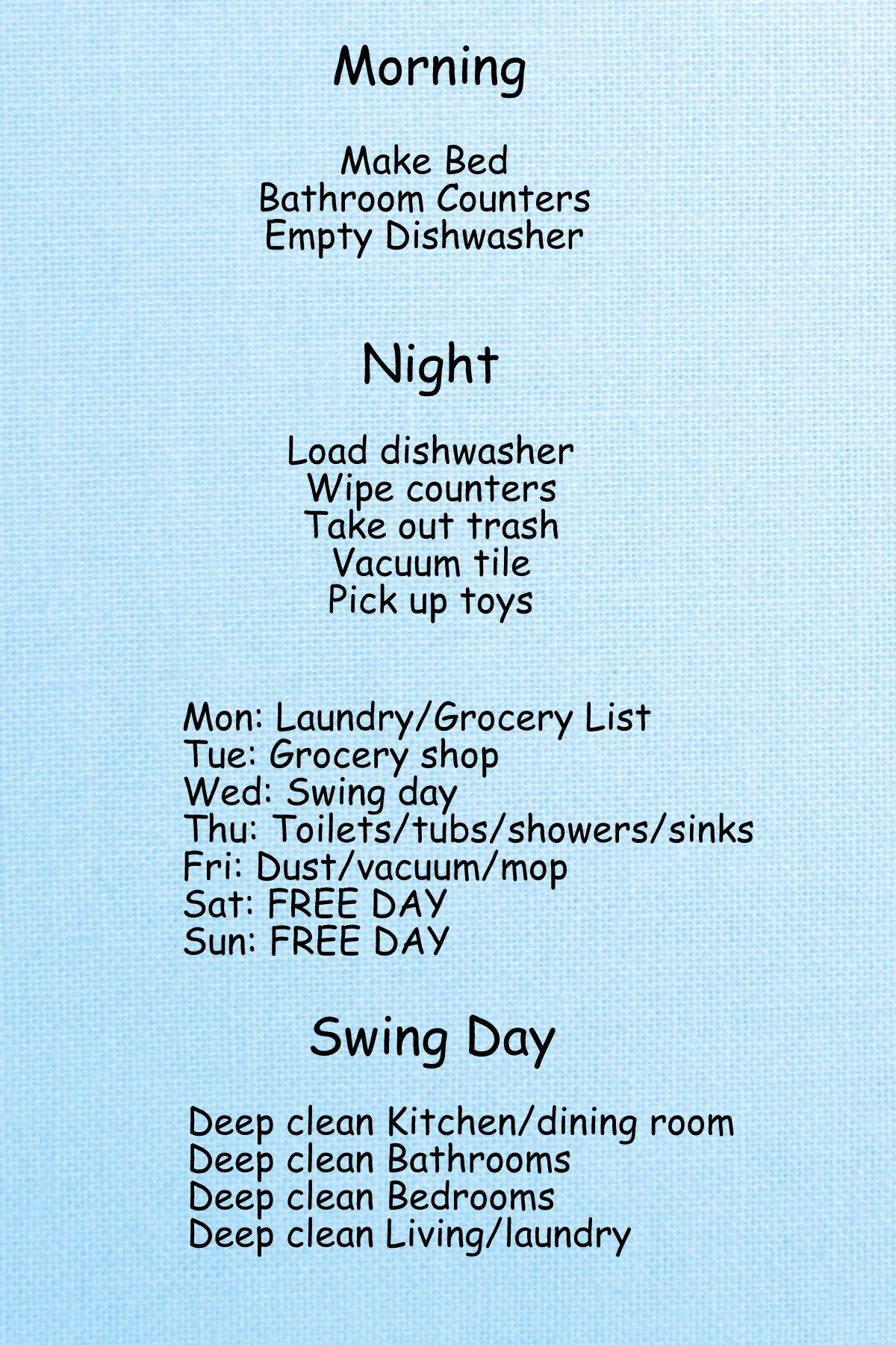 Simple Cleaning Schedule! | Organize This | Pinterest | Cleaning ...
