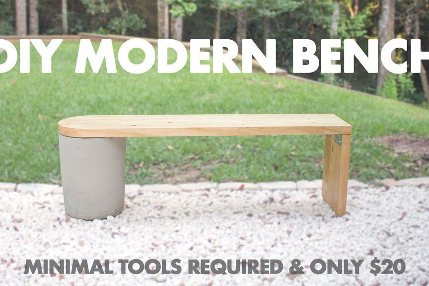 20 Diy Modern Concrete And 2x12 Wood Bench Very Easy To Make Modern Bench Outdoor Modern Diy Diy Bench