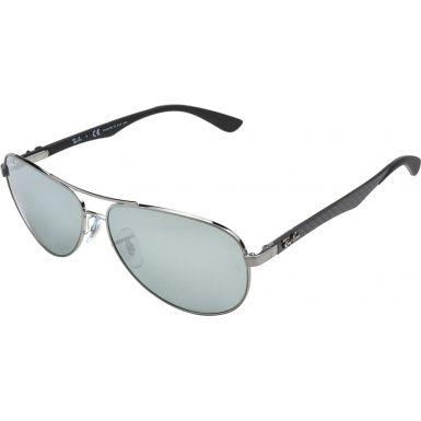 5a255ae1ef5 RayBan RB8313-61-004-K6 RB8313 61 Tech Carbon Fibre Gunmetal 004-K6 Silver  Mirror Polarized Sunglasses