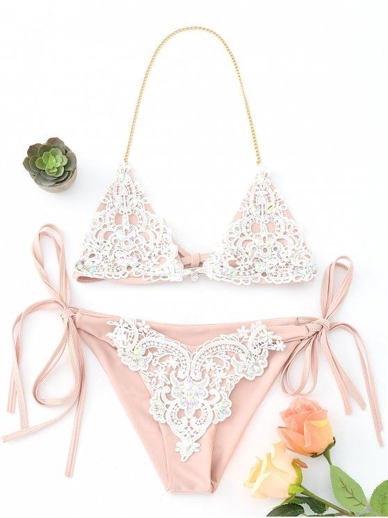 db80768a91a7e Up to 80% OFF! Bralette Crochet Panel Rhinestone String Bikini ...