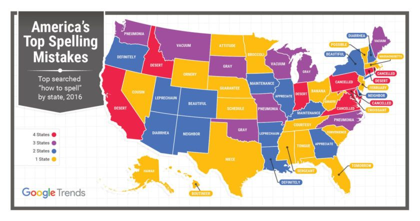 America S Top Spelling Mistakes By State Infographic Misspelled Words Commonly Misspelled Words Google Trends