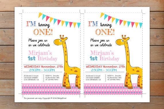 Giraffe Invitation Giraffe Birthday Invitation Giraffe