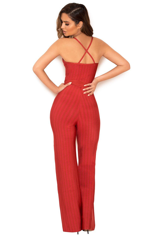 48779f7d9c Clothing   Jumpsuits    Devi  Red Strappy Bandage Jumpsuit