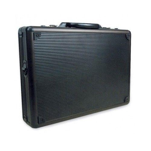 Black Aluminum Briefcase Metal Lock Hard Sided Shell ...