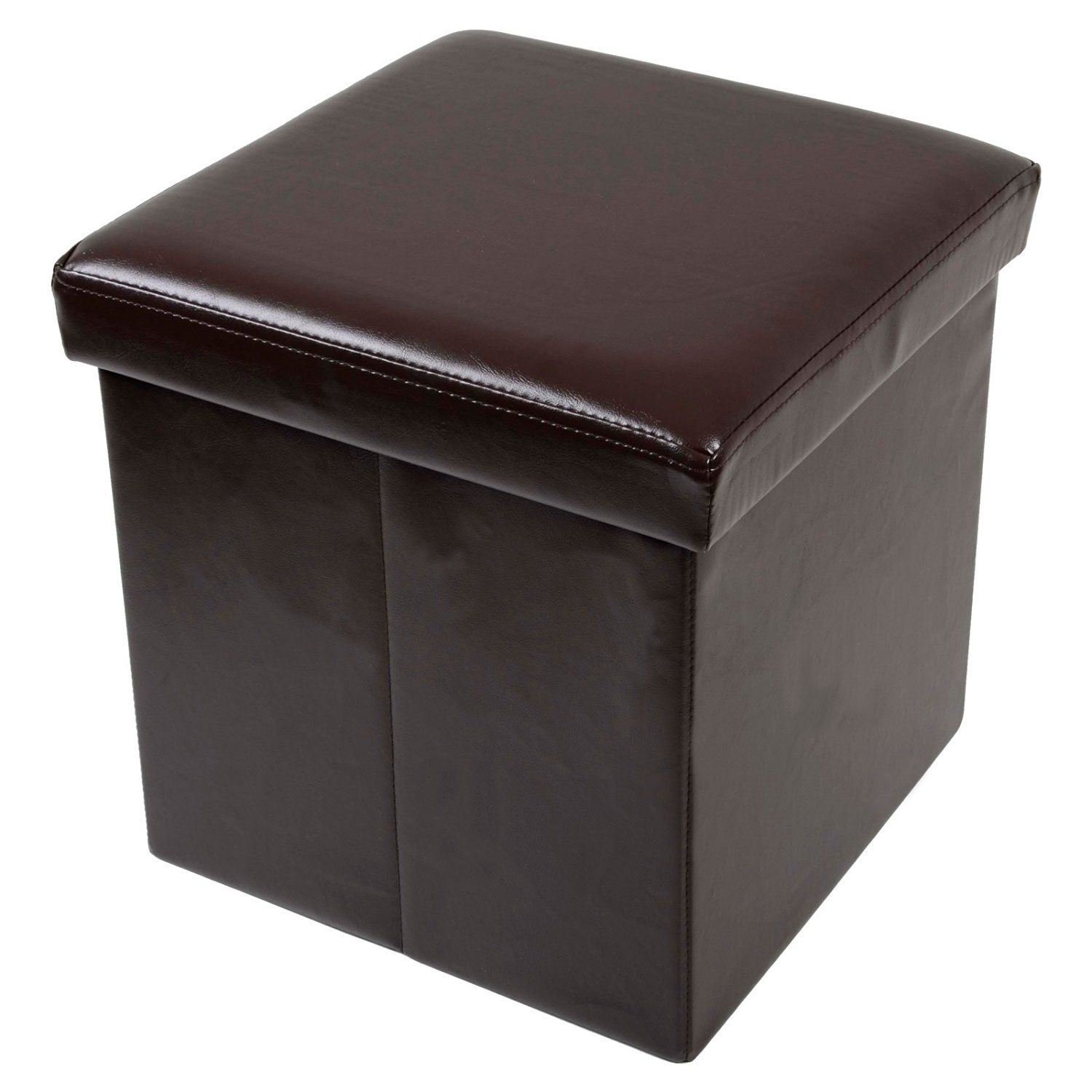 Attractive Folding Storage Stool With Lid Brown Faux Leather 38cm Cube Pouffe Seat  Ottomanu2026