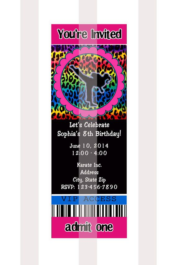 KARATE PARTY Invitations Personalized D I Y You by AllSports, $10.00 ...