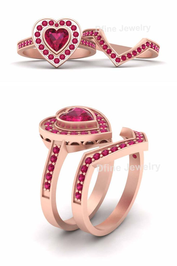 Pink Ruby Heart Engagement Ring For Womens Pretty Heart Ring, 2Pc ...
