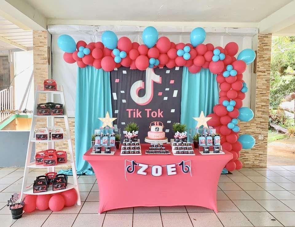 Tik Tok Birthday Zoe S Tiktok Party Catch My Party 12th Birthday Party Ideas 13th Birthday Party Ideas For Girls 10th Birthday Parties