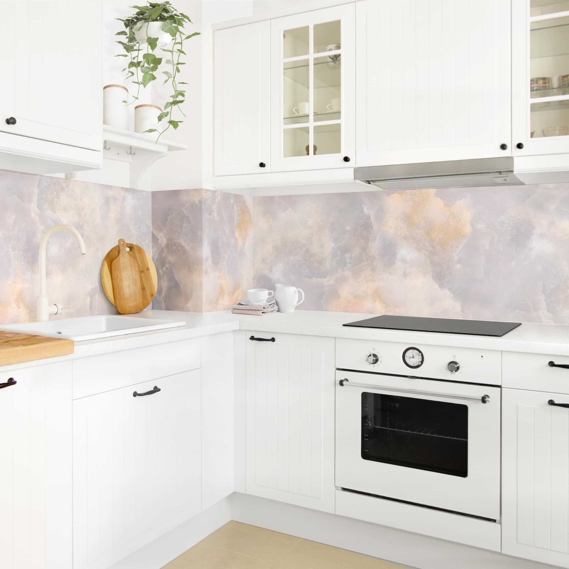 Rivestimento cucina - Marmo Onyx grigio | Piastrelle, Cucine ...