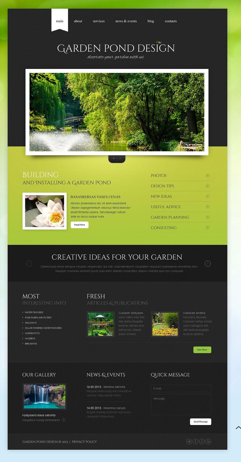Garden Design Responsive Website Template 43644 Web Layout Design Responsive Website Template Photography Website Templates