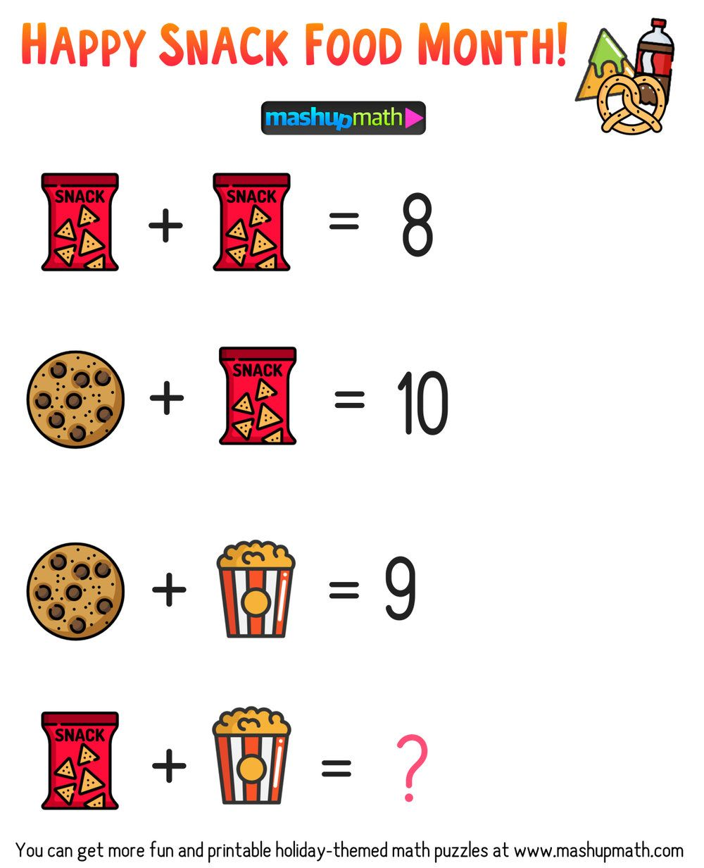Free Math Brain Teaser Puzzles For Kids In Grades 1 6 To Celebrate Snack Food Month Mashup Math Maths Puzzles Math Puzzles Brain Teasers Brain Teasers For Kids [ 1232 x 1000 Pixel ]