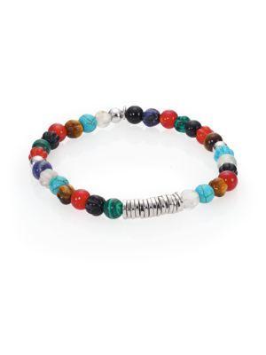 Tateossian Mens Round Rutilated Quartz Beaded Bracelet w3fe6lh