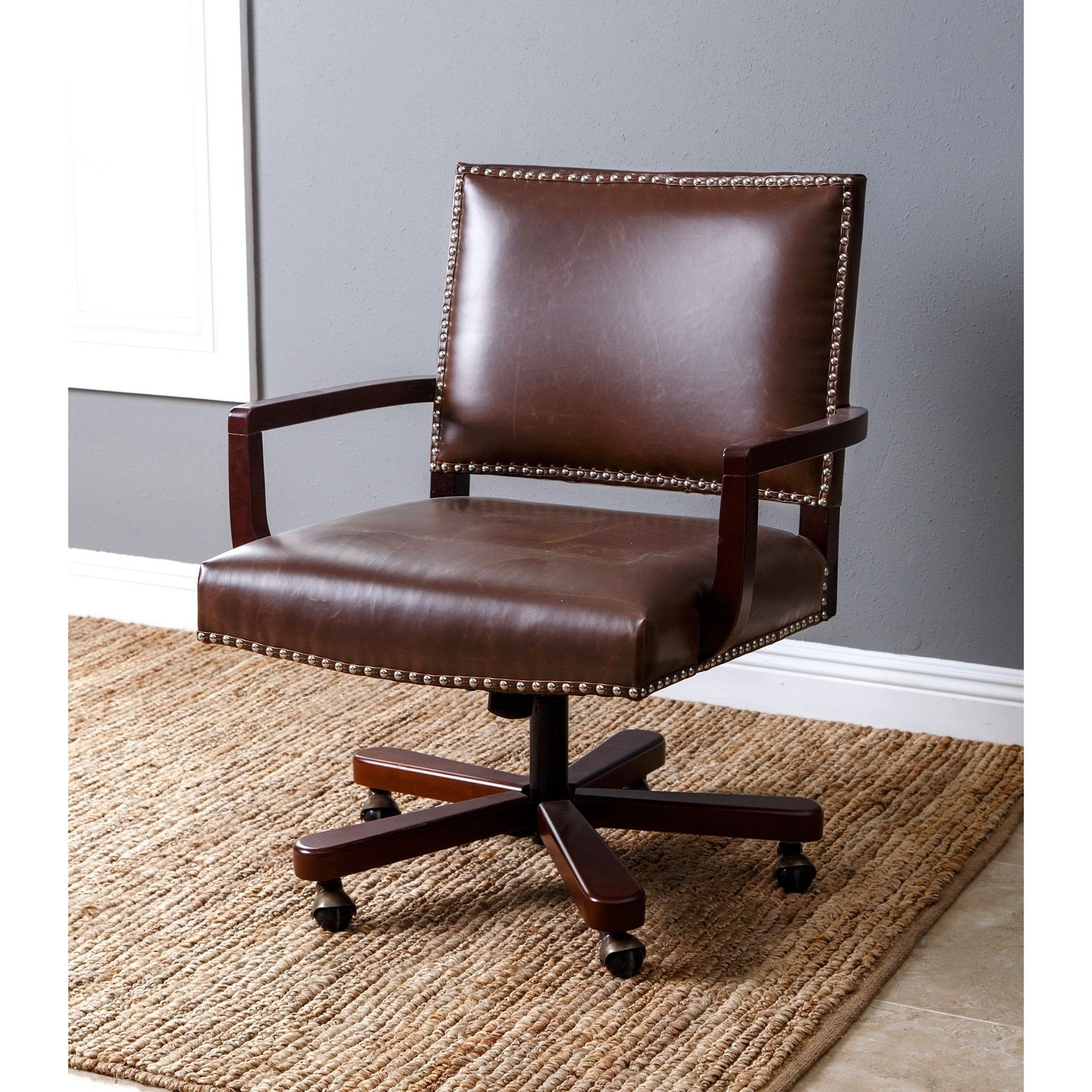 abbyson toronto brown leather office chair dark brown products