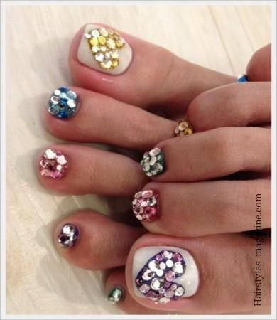 toe nail art with stones simple toe nail art designs of
