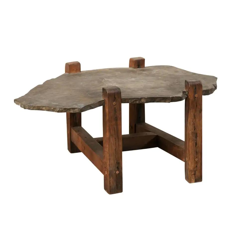 Organic Shaped Slate Top Coffee Table On Wood Base Coffee Table Slate Top Coffee Table Slate Coffee Table [ 960 x 960 Pixel ]